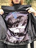 Черная брендовая куртка Philipp Plein из натуральной кожи, фото 2