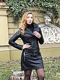 Черная стильная куртка из гладкой кожи, фото 2