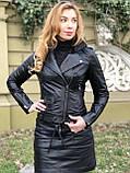 Черная стильная куртка из гладкой кожи, фото 3