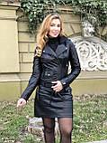 Черная стильная куртка из гладкой кожи, фото 4