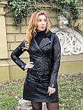 Черная стильная куртка из гладкой кожи, фото 5