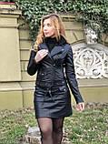 Черная стильная куртка из гладкой кожи, фото 7