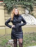 Черная стильная куртка из гладкой кожи, фото 6