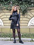 Черная стильная куртка из гладкой кожи, фото 8