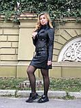 Черная стильная куртка из гладкой кожи, фото 9