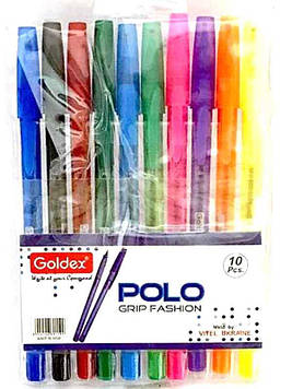Набор ручек шариковых 10цв Goldex Polo