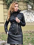 Чорна стильна косуха з двома блискавками з гладкої шкіри, фото 2