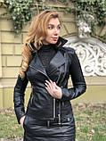 Черная стильная косуха с двумя молниями из гладкой кожи, фото 4
