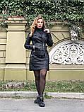 Чорна стильна косуха з двома блискавками з гладкої шкіри, фото 9