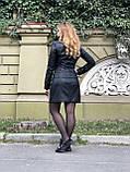 Чорна стильна косуха з двома блискавками з гладкої шкіри, фото 8