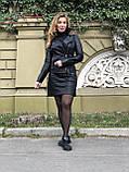 Черная стильная косуха с двумя молниями из гладкой кожи, фото 7