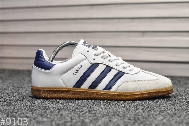 Кроссовки Adidas Samba White Blue / Адидас Самба