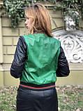 Зеленый стильный бомбер из натуральной кожи, фото 9