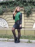 Зеленый стильный бомбер из натуральной кожи, фото 4