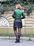 Зеленый стильный бомбер из натуральной кожи, фото 8