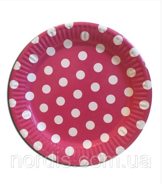 """Тарелки бумажные одноразовые детские """" Горох розовый """" 18 см,10 шт."""