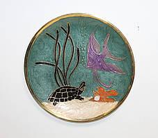 Настінна декоративна тарілка з латуні Морська