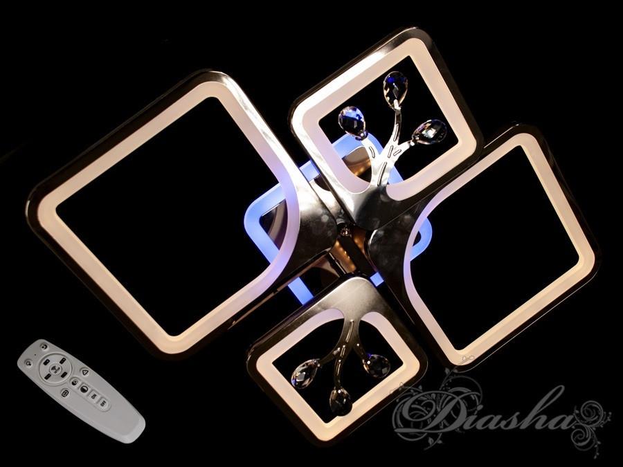 Стельова люстра з діммером і LED підсвічуванням, колір чорний хром 8157/2+2BHR LED 3color dimmer