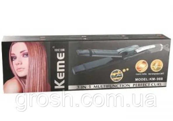 Утюжок плойка стайлер Kemei GB-KM 988 3 в 1