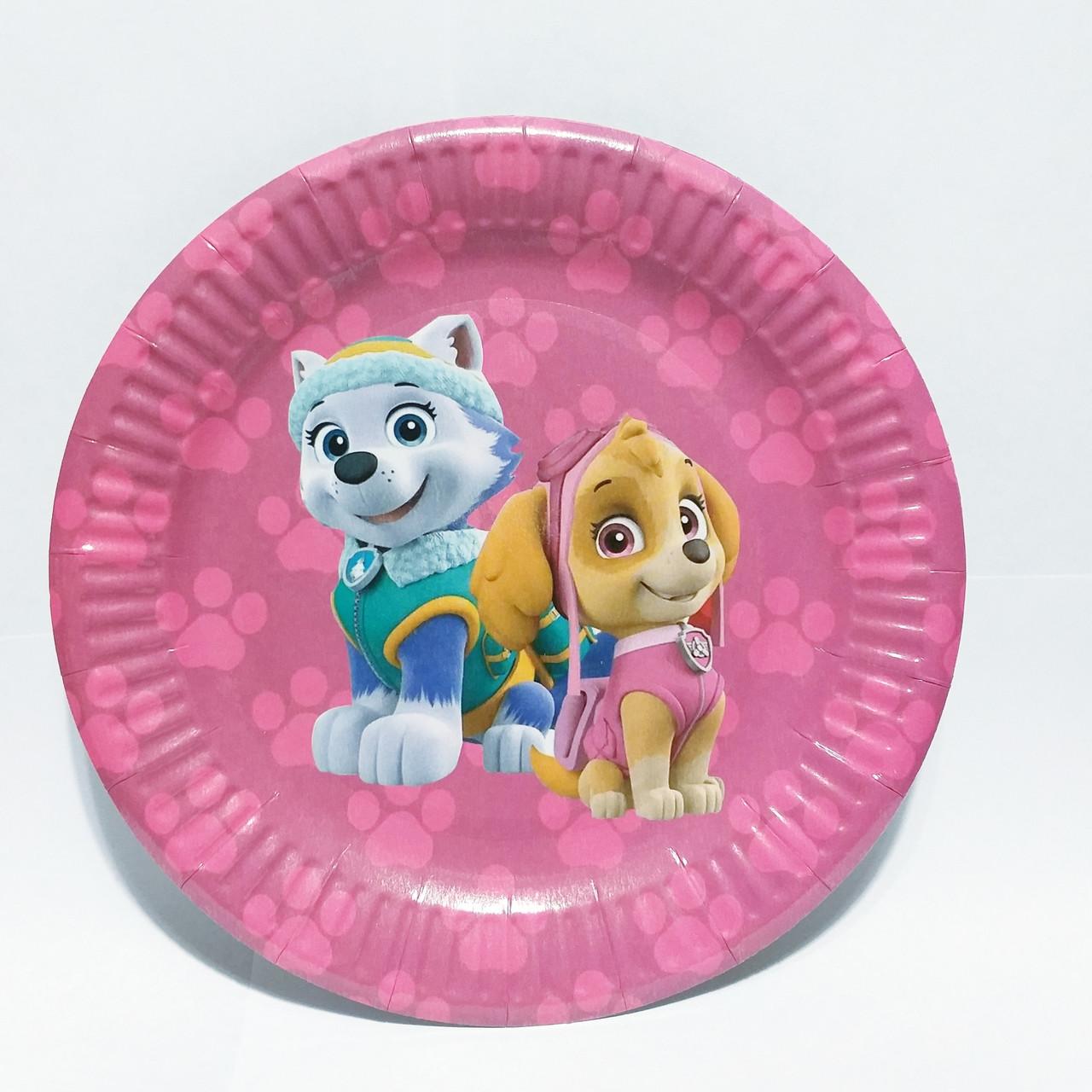 Тарілки паперові дитячі рожеві щенячий патруль