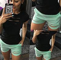 Женские короткие шорты летние. Цвет черный, марсал и мята
