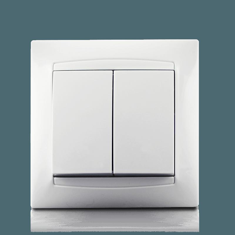 Вимикач двоклавішний в зборі  Erste Prestige білий (9206-02)