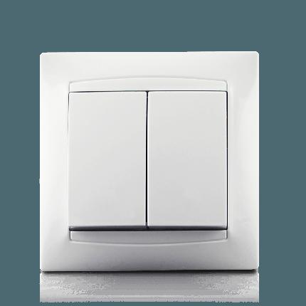 Вимикач двоклавішний в зборі  Erste Prestige білий (9206-02), фото 2