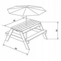 Столик для пикника с зонтом AXI (песочница, водный стол), фото 2