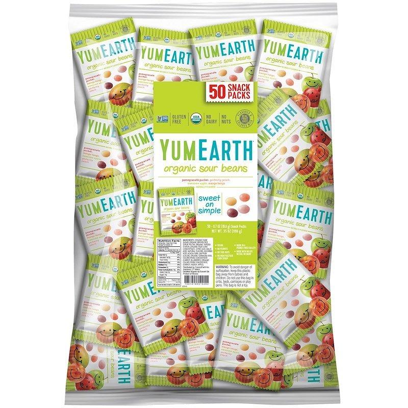 YumEarth, Кислые драже, упаковка снеков (большая), 50 упаковок снеков по 20 г каждая