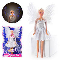 Кукла DEFA 8219 (48шт) ангел, свет, в слюде, 33-21-7см