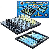 Шахматы MC 1178/8899 (36шт) 3 в 1, пластмассовые, в кор-ке, 32-18-5см