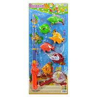 Рыбалка M 0039 U/R (96шт) 2 вида, 8 рыбок, удочка, сачок, на листе, 58-23см