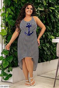 Женское платье летнее ассиметричное большого размера. Ткань:вискоза.  Размер: 48-52, 54-58.