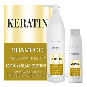 Безсульфатний шампунь з кератином для пошкодженого і ослабленого волосся JERDEN PROFF KERATIN, 1000 ml