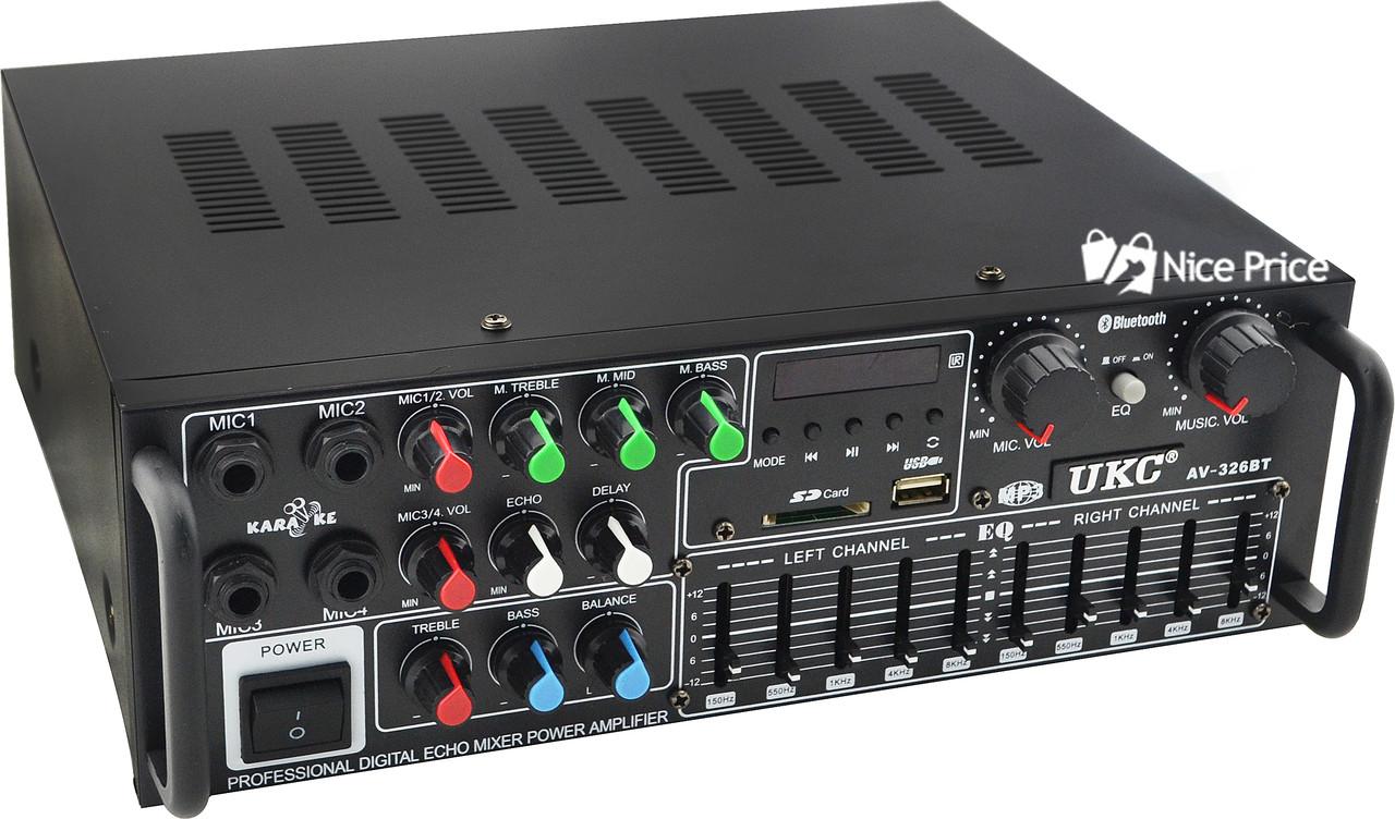 Интегральный усилитель UKC AV-326BT 240W Bluetooth с караоке (5149) #S/O