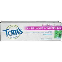 Tom's of Maine, Зубная паста для удаления налета и отбеливания зубов со вкусом перечной мяты, без фтора, 155,9 г (5,5 унции)