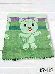 Детская простыня махровая 115х115 Медвежата (4.2) Зеленый