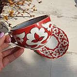 "Чашка и десертная тарелка ""ПАХТА"" красная с золотым декором. Ташкент, Узбекистан (3), фото 2"