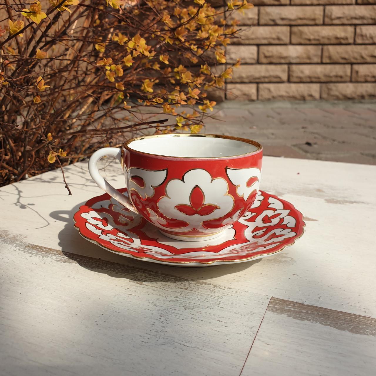 "Чашка и десертная тарелка ""ПАХТА"" красная с золотым декором. Ташкент, Узбекистан (3)"