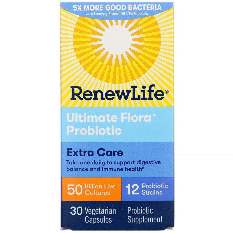 Renew Life, Пробиотики Extra Care, Ultimate Flora, 50 миллиардов живых культур, 30 растительных капсул