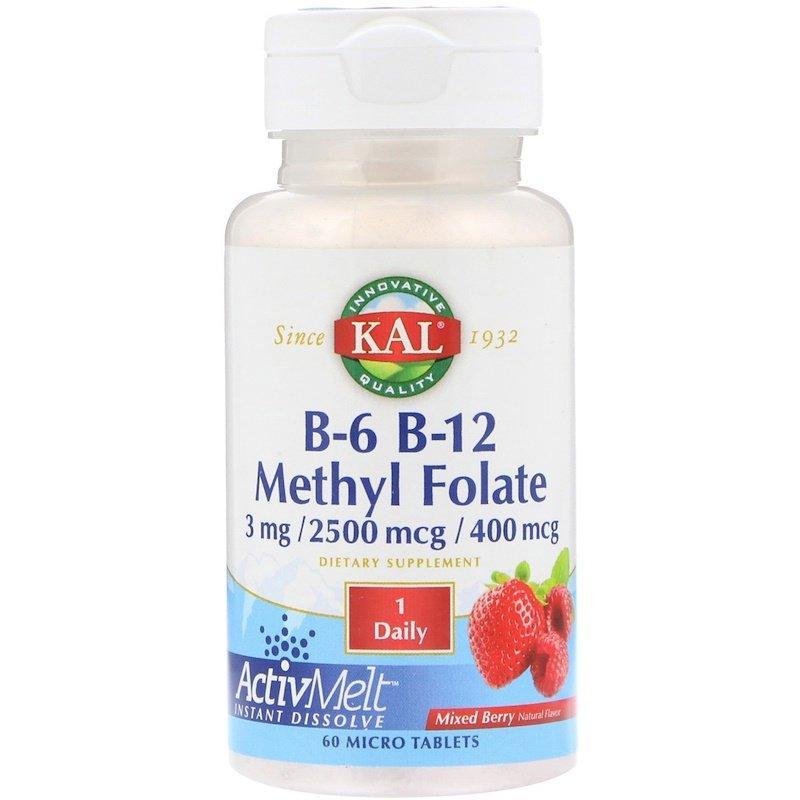 KAL, B-6 B-12 метилфолат, смесь ягод, 3 мг / 2500 мкг / 400 мкг, 60 микротаблеток