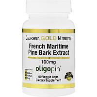 California Gold Nutrition, Oligopin, экстракт коры французской приморской сосны, полифенольный антиоксидант, 100мг, 60растительных капсул