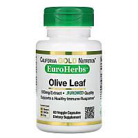 California Gold Nutrition, Экстракт листьев оливы, EuroHerbs, европейское качество, 500 мг, 60 растительных капсул