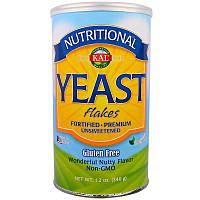 KAL, Пищевые дрожжи в хлопьях выращены на мелассе Yeast Flakes, 340г сделано в США