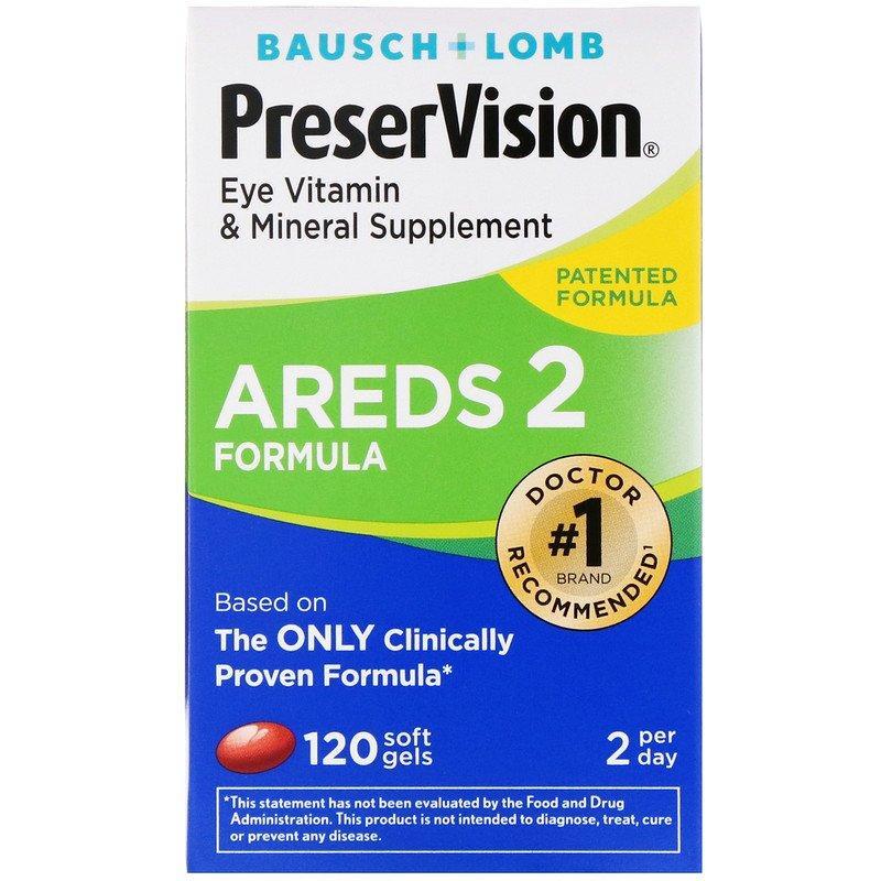 Bausch & Lomb, PreserVision, AREDS 2 Formula, добавка для здоров'я очей з вітамінами і мінералами, 120 м'яких таблеток