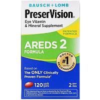 Bausch & Lomb, PreserVision, AREDS 2 Formula, добавка для здоров'я очей з вітамінами і мінералами, 120 м'яких таблеток, фото 1