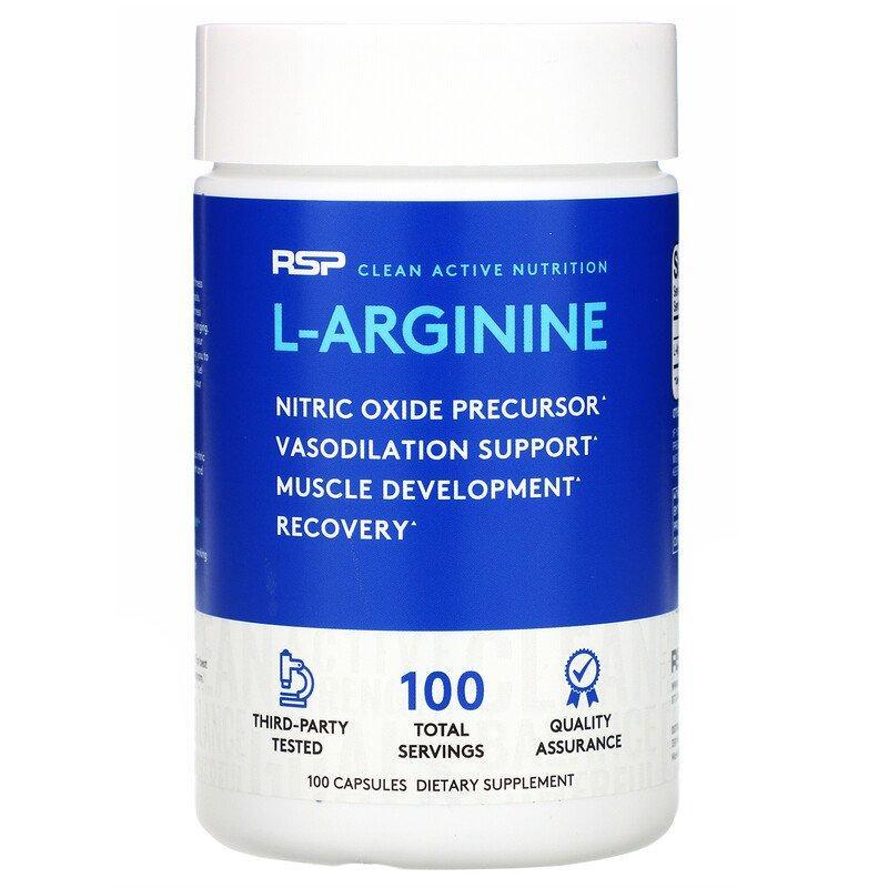 RSP Nutrition, L-аргінін, прекурсор оксиду азоту, 750 мг, 100 капсул