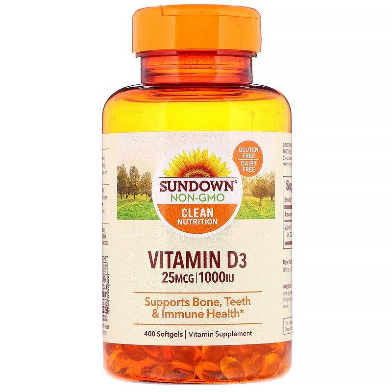 Sundown Naturals, Вітамін D3, 25 мкг (1000 МО), 400 м'яких таблеток