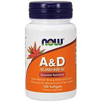 Now Foods, AD, незаменимые питательные вещества, 10 000/400 МЕ, 100 мягких желатиновых капсул, фото 1