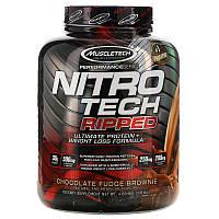 Muscletech, Nitro Tech Ripped, чистый протеин + состав для похудения, со вкусом брауни с шоколадной помадкой, 1,81 кг (4 фунта)